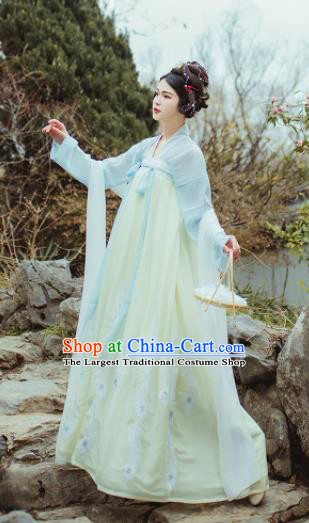 Chinese Ancient Peri Goddess Hanfu Dress Traditional Tang Dynasty Princess Costume for Women