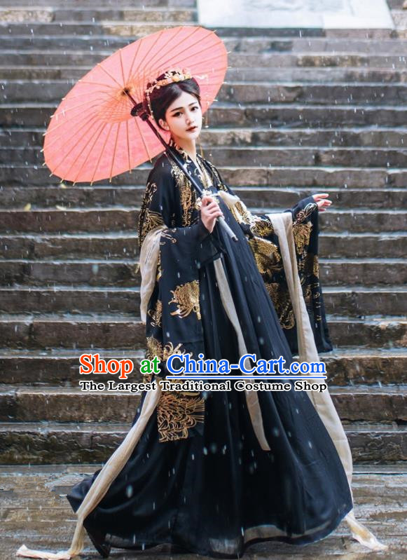 Chinese Ancient Queen Black Hanfu Dress Traditional Tang Dynasty Palace Empress Costume for Women