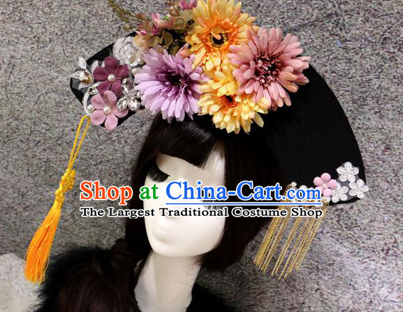 Chinese Ancient Palace Headwear Traditional Qing Dynasty Manchu Hair Accessories for Women