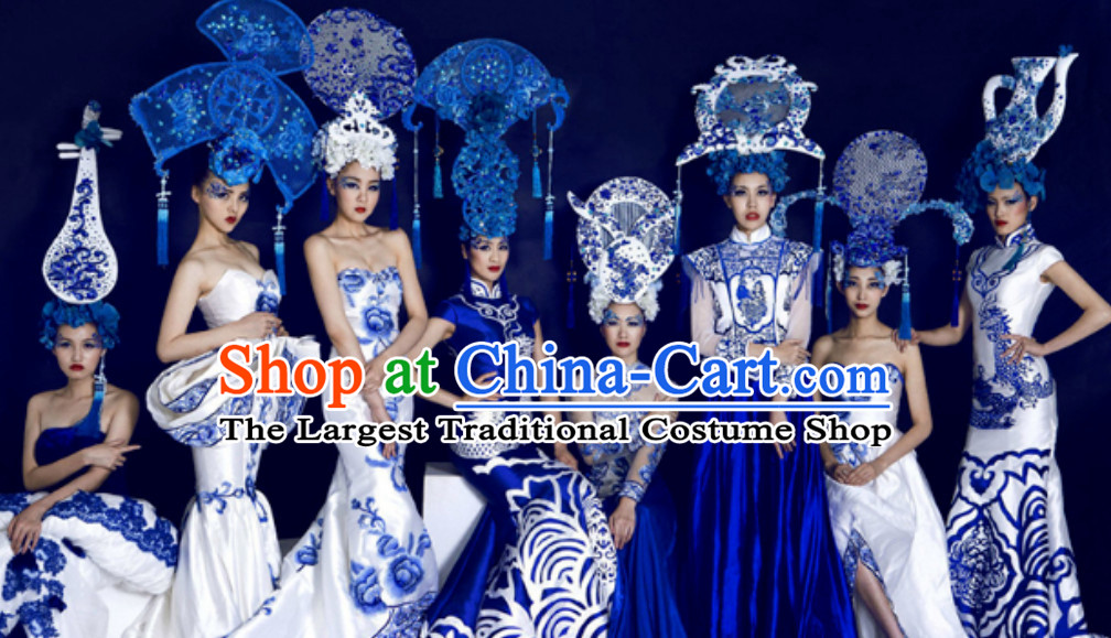 Traditional Blue and White Porcelain Silk Fabric Maxi Dress Long Evening Dresses