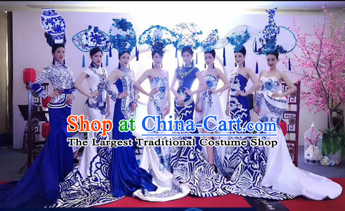 Traditional Blue and White Porcelain Silk Fabric Maxi Dress Long Evening Dress