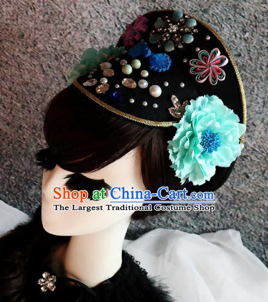 Chinese Ancient Palace Queen Hat Headwear Traditional Qing Dynasty Manchu Hair Accessories for Women