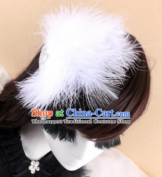 Top Grade Baroque Princess White Feather Hair Claw Headwear Wedding Bride Hair Accessories for Women
