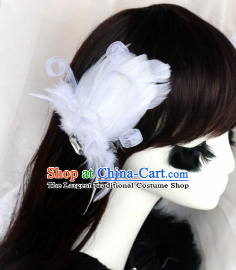 Top Grade Baroque Princess White Feather Hair Stick Headwear Wedding Bride Hair Accessories for Women