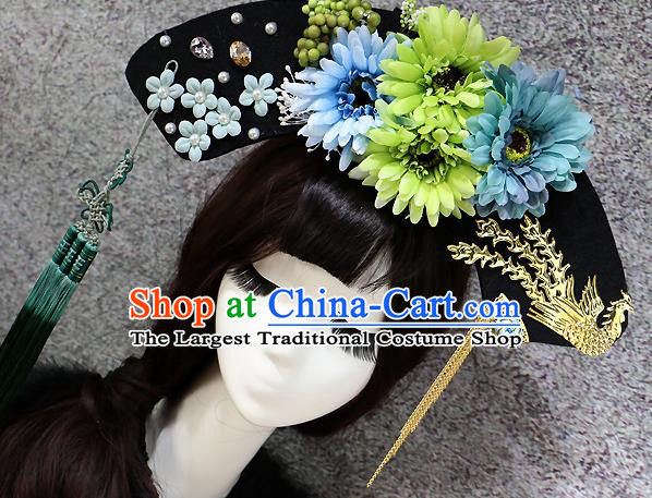 Chinese Ancient Palace Headwear Traditional Qing Dynasty Manchu Green Flowers Hair Accessories for Women