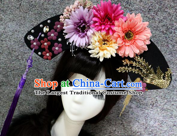 Chinese Ancient Palace Headwear Traditional Qing Dynasty Manchu Flowers Hair Accessories for Women