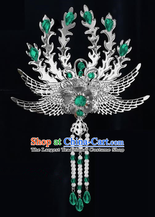 Chinese Ancient Princess Tassel Hair Clip Green Crystal Phoenix Hairpins Traditional Palace Hanfu Hair Accessories for Women