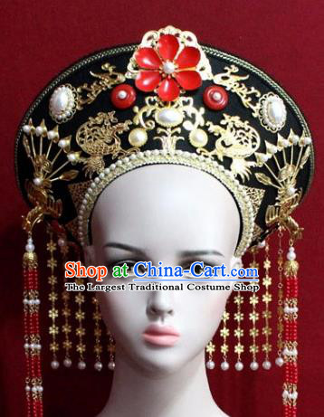 Chinese Ancient Empress Headwear Hat Traditional Qing Dynasty Queen Hair Accessories for Women
