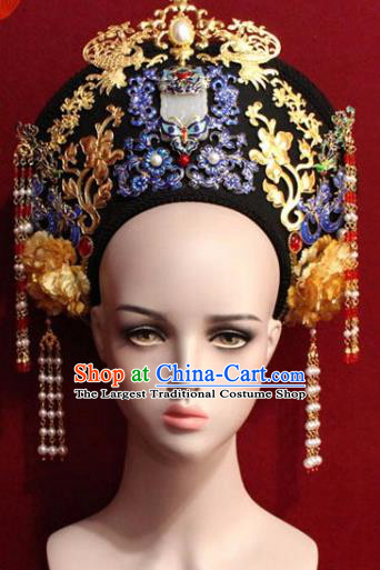 Chinese Ancient Empress Headwear Cloisonne Hat Traditional Qing Dynasty Queen Hair Accessories for Women