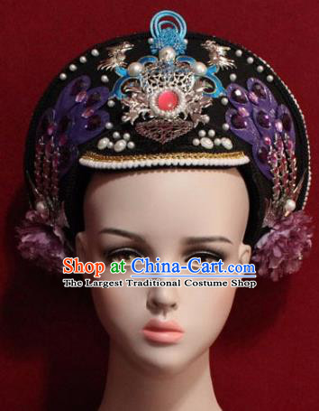 Chinese Ancient Manchu Empress Headwear Purple Phoenix Hat Traditional Qing Dynasty Queen Hair Accessories for Women