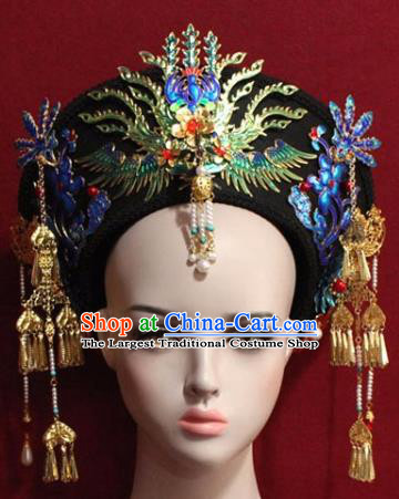 Chinese Ancient Manchu Empress Headwear Blueing Phoenix Hat Traditional Qing Dynasty Queen Hair Accessories for Women