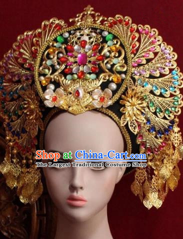 Handmade Thailand Traditional Hair Accessories Ancient Queen Crystal Royal Crown for Women