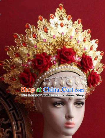 Handmade Thailand Traditional Hair Accessories Ancient Queen Red Roses Royal Crown for Women