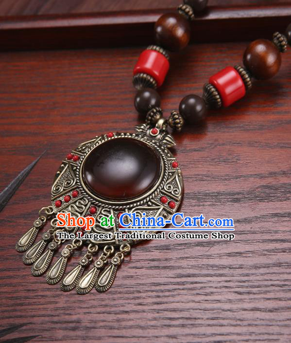 Handmade Chinese Ethnic Tibetan Necklace Traditional Zang Nationality Necklet Accessories for Women