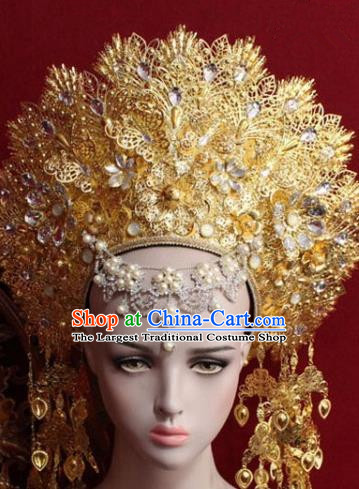 Handmade Thailand Traditional Hair Accessories Ancient Queen Golden Royal Crown for Women