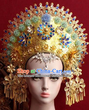 Handmade Thailand Traditional Hair Accessories Ancient Queen Green Flowers Royal Crown for Women