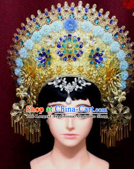 Handmade Thailand Traditional Hair Accessories Ancient Queen Blue Flowers Royal Crown for Women