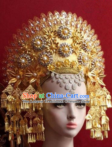Handmade Thailand Traditional Hair Accessories Ancient Queen Golden Tassel Royal Crown for Women