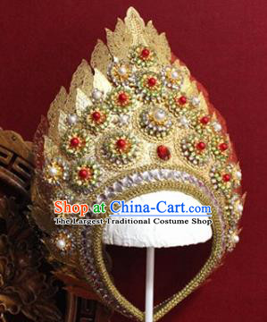 Handmade Thailand Traditional Hair Accessories Ancient Queen Red Crystal Royal Crown for Women