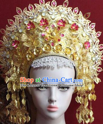 Handmade Thailand Traditional Hair Accessories Ancient Queen Rosy Crystal Royal Crown for Women