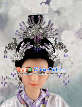 Chinese Ancient Princess Purple Crystal Phoenix Coronet Headwear Traditional Tang Dynasty Queen Hairpins Hair Accessories for Women