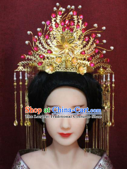 Chinese Ancient Rosy Crystal Phoenix Coronet Headwear Traditional Tang Dynasty Queen Hairpins Hair Accessories for Women