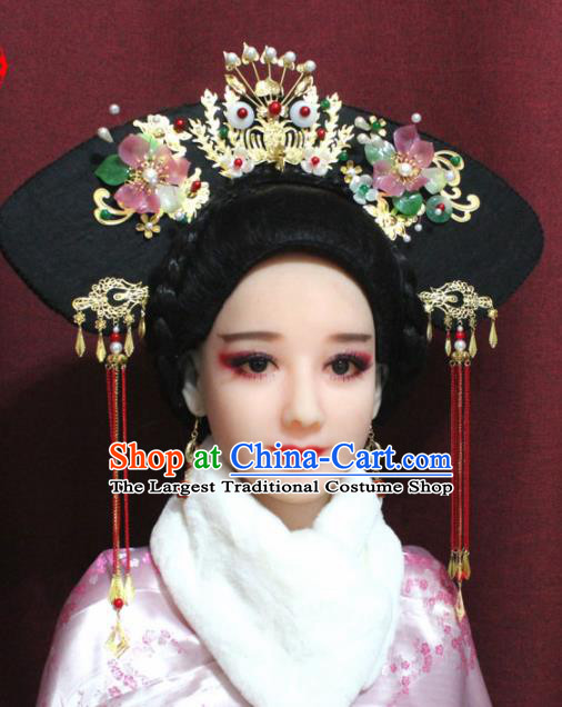 Chinese Ancient Imperial Consort Headwear Traditional Qing Dynasty Manchu Queen Hair Accessories for Women