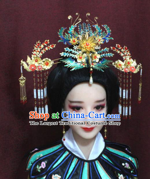 Chinese Ancient Imperial Consort Cloisonne Phoenix Headwear Traditional Qing Dynasty Manchu Queen Hair Accessories for Women