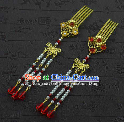 Chinese Ancient Bride Hairpins Traditional Palace Hanfu Tassel Hair Combs Wedding Hair Accessories for Women