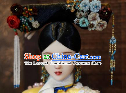 Chinese Ancient Qing Dynasty Manchu Princess Tassel Headwear Traditional Palace Hair Accessories for Women