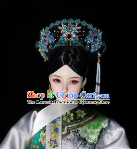 Chinese Ancient Qing Dynasty Manchu Queen Cloisonne Headwear Traditional Palace Hair Accessories for Women