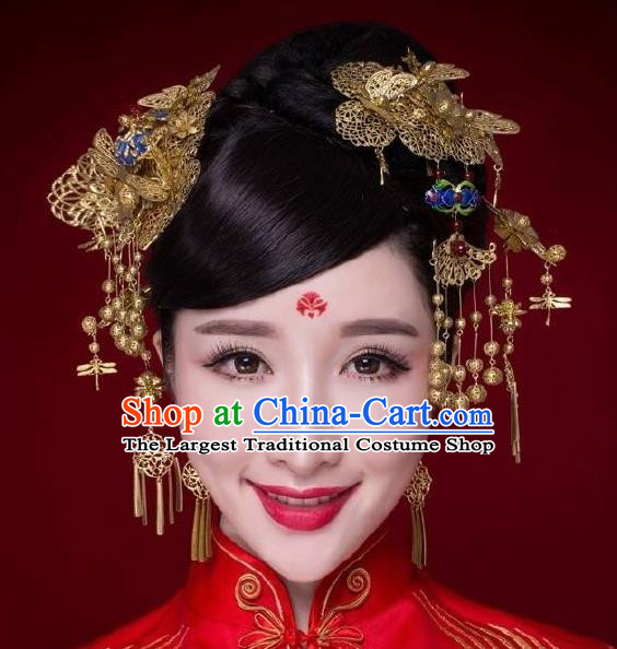 Chinese Ancient Bride Cloisonne Hairpins Traditional Palace Wedding Hair Accessories Complete Set for Women
