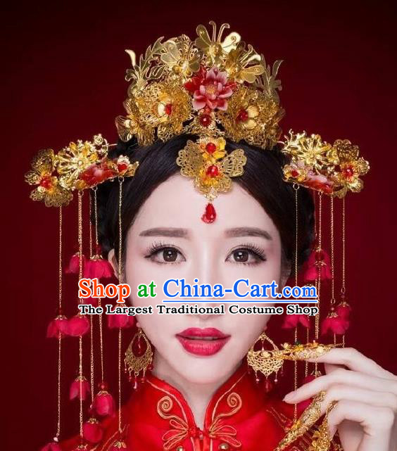 Chinese Ancient Bride Hairpins Traditional Palace Wedding Hair Accessories Complete Set for Women