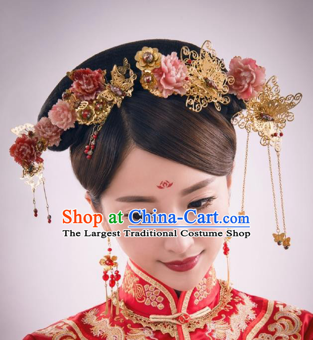 Chinese Ancient Bride Pink Peony Hairpins Traditional Palace Wedding Hair Accessories Complete Set for Women