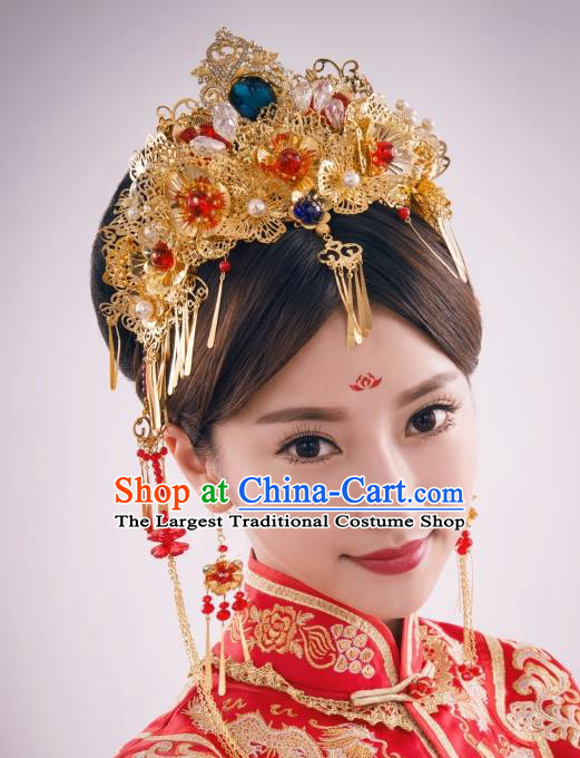 Chinese Ancient Bride Golden Phoenix Coronet Hairpins Traditional Palace Wedding Hair Accessories Complete Set for Women