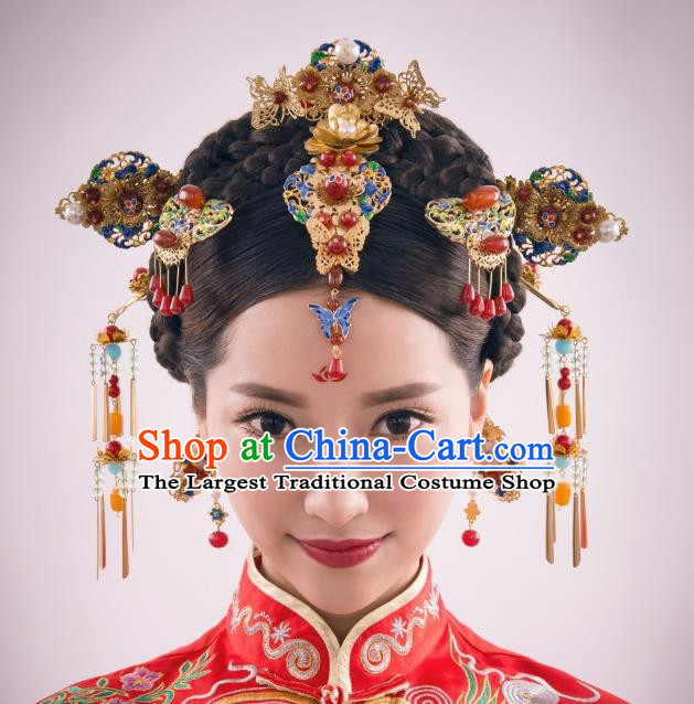 Chinese Ancient Bride Blueing Phoenix Coronet Hairpins Traditional Palace Wedding Hair Accessories Complete Set for Women