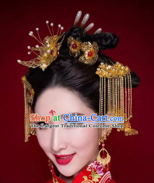 Chinese Ancient Bride Tassel Hairpins Traditional Palace Wedding Hair Accessories Complete Set for Women