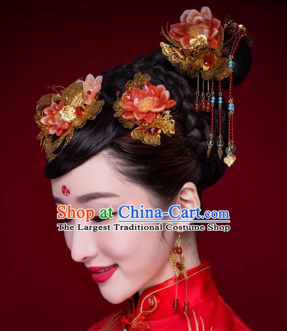 Chinese Ancient Bride Hairpins Red Lotus Phoenix Coronet Traditional Palace Wedding Hair Accessories Complete Set for Women
