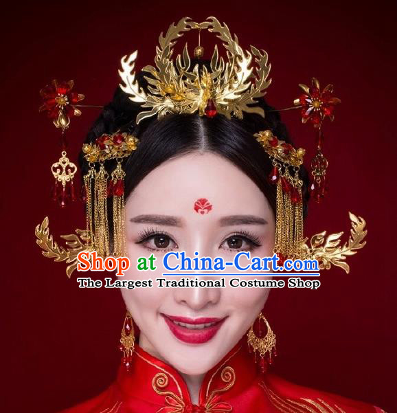Chinese Ancient Bride Hairpins Phoenix Coronet Traditional Palace Wedding Hair Accessories Complete Set for Women