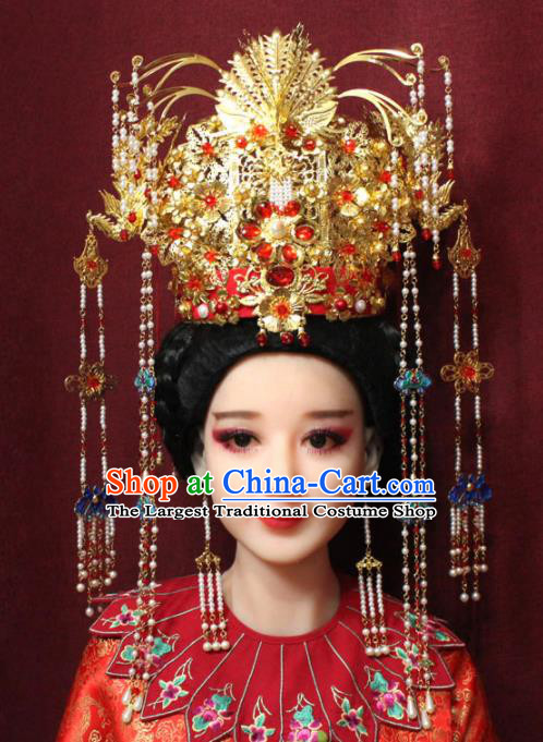 Chinese Ancient Queen Red Crystal Tassel Phoenix Coronet Hairpins Traditional Palace Wedding Hair Accessories for Women
