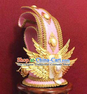 Handmade Chinese Han Dynasty Prince Pink Hairdo Crown Traditional Ancient Swordsman Hair Accessories for Men
