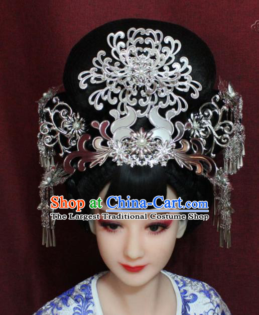Chinese Ancient Wedding Phoenix Coronet Hairpins Traditional Ethnic Queen Hair Accessories for Women