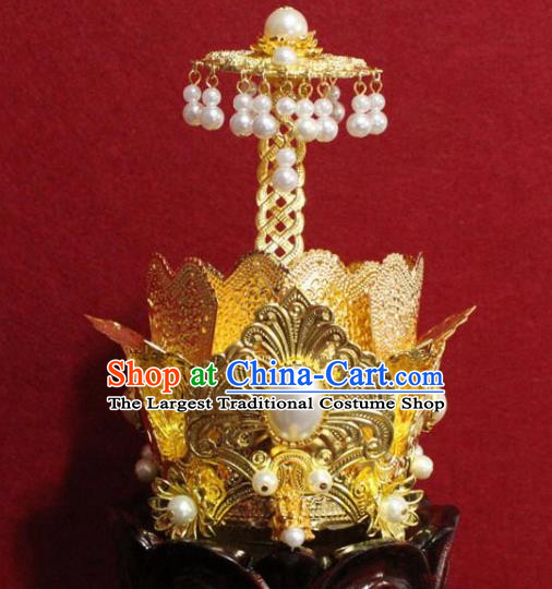Handmade Chinese Taoism Golden Hairdo Crown Traditional Ancient Taoist Swordsman Hair Accessories for Men