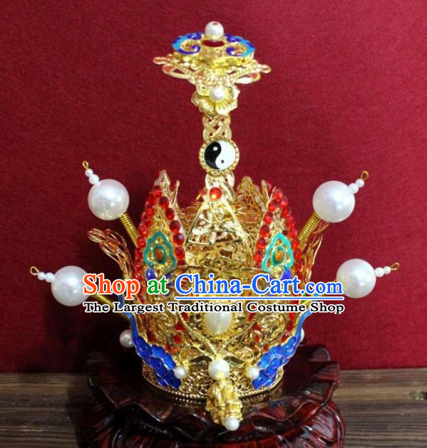 Handmade Chinese Taoism Cloisonne Clouds Hairdo Crown Traditional Ancient Taoist Swordsman Hair Accessories for Men