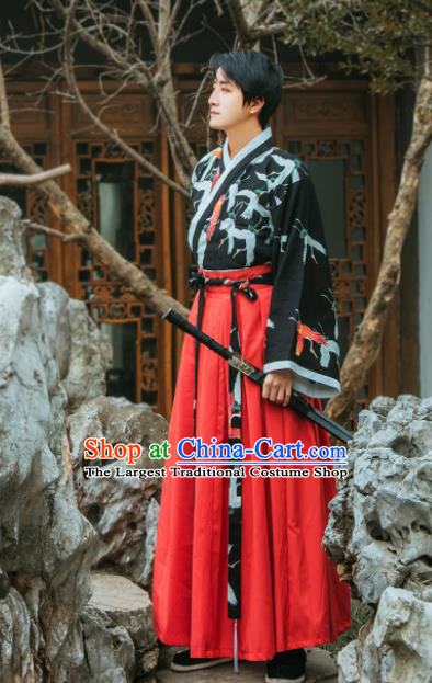Chinese Traditional Jin Dynasty Embroidered Hanfu Dress Ancient Swordsman Costume for Women for Men