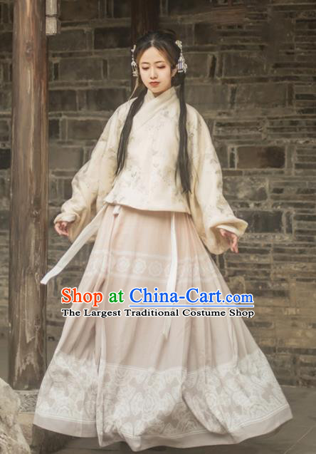 Chinese Traditional Ming Dynasty Nobility Lady Hanfu Dress Ancient Princess Embroidered Costume for Women