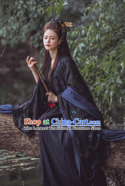 Chinese Traditional Jin Dynasty Imperial Consort Black Hanfu Dress Ancient Peri Goddess Costume for Women