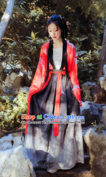 Chinese Traditional Tang Dynasty Palace Lady Hanfu Dress Ancient Peri Goddess Costume for Women