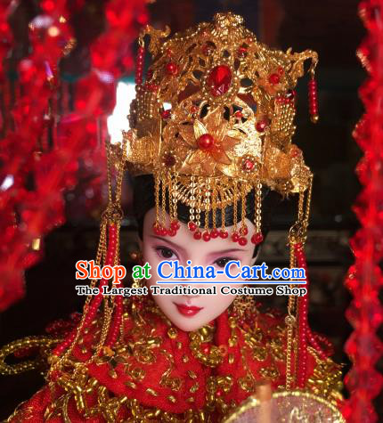 Chinese Ancient Tang Dynasty Empress Wedding Headwear Phoenix Coronet Traditional Palace Hair Accessories for Women