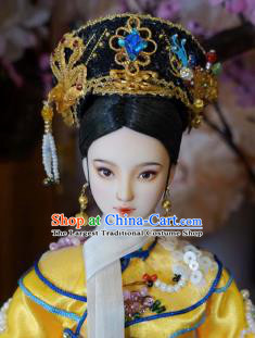 Chinese Ancient Manchu Queen Headwear Traditional Qing Dynasty Palace Hair Accessories for Women
